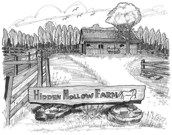 Hidden Hollow Farm Art Print featuring the drawing Hidden Hollow Farm 1 by Richard Wambach