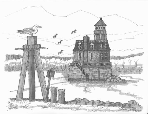 Lighthouse Art Print featuring the drawing Hudson-athens Lighthouse by Richard Wambach