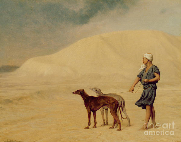 Male; Arab; Turban; Dog; Dogs; Greyhound; Orientalist; Sand; Desert Art Print featuring the painting In The Desert by Jean Leon Gerome