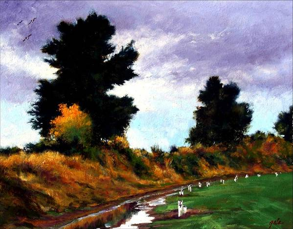 Landscape Art Print featuring the painting Inside The Dike by Jim Gola