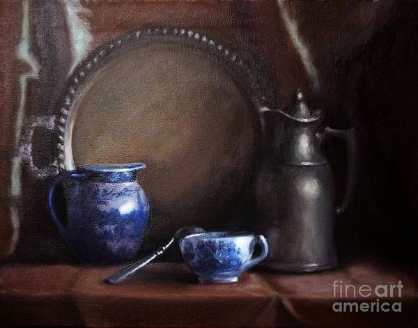 Viktoriamajestic Art Print featuring the painting Japanese China And Pewter by Viktoria K Majestic