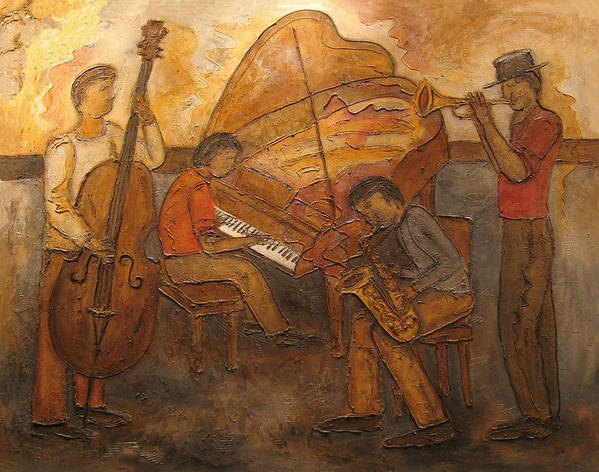Impressionist Art Print featuring the painting Jazz Quartet by Anita Burgermeister