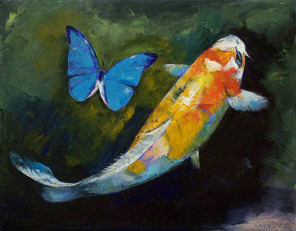 Kujaku Koi Art Print featuring the painting Kujaku Koi And Butterfly by Michael Creese