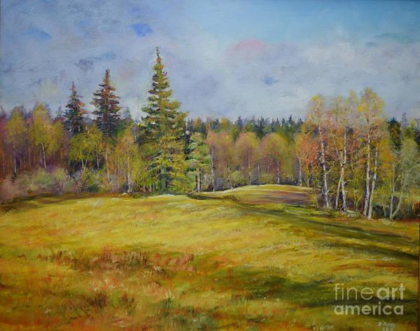 Raija Merila Art Print featuring the painting Landscape From Pyhajarvi by Raija Merila