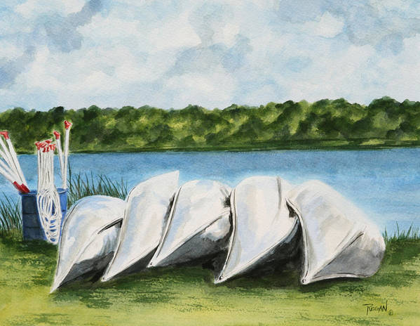 Canoes Art Print featuring the painting Lazy River by Regan J Smith
