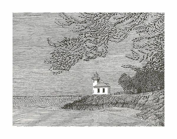 San Juan Islands Lime Point Lighthouse Art Print featuring the drawing Light House On San Juan Island Lime Point Lighthouse by Jack Pumphrey
