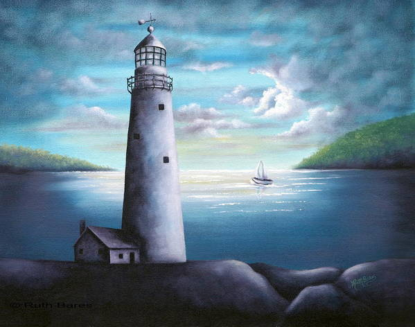 Oil Art Print featuring the painting Lighthouse by Ruth Bares