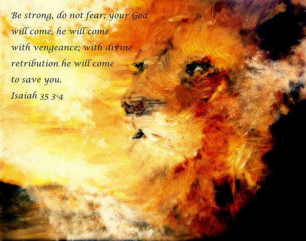 Lion Of Judah Art Print featuring the painting Lion Of Judah Courage by Amanda Dinan