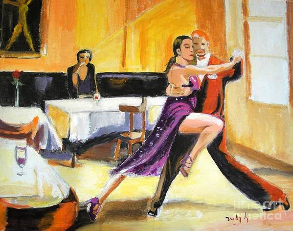 Dance Art Print featuring the painting Lone Audience by Judy Kay