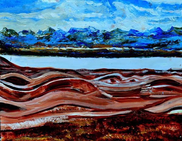 Himalayas Art Print featuring the painting Manas Sarovr Lake-19 by Anand Swaroop Manchiraju