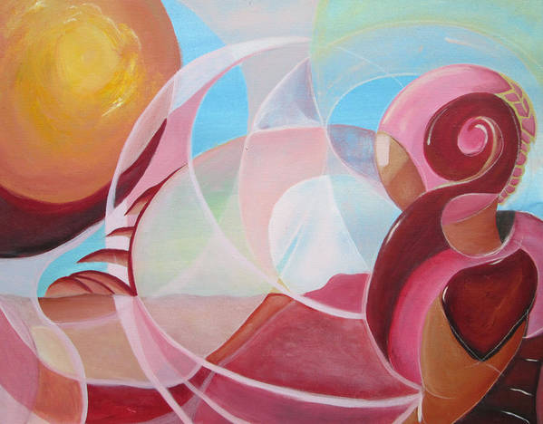 Abstract Art Print featuring the painting Martian Sunset by Silvie Kendall