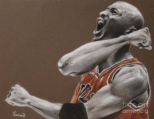 Michael Jordan Art Print featuring the painting Michael Jordan - Chicago Bulls by Prashant Shah