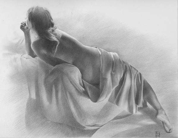 Art Print featuring the drawing Model In Drapery 2003 by Denis Chernov