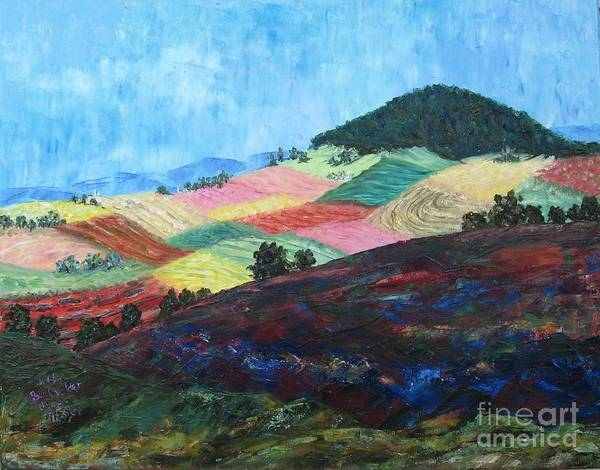 Landscape Art Print featuring the painting Mole Hill Patchwork - Sold by Judith Espinoza