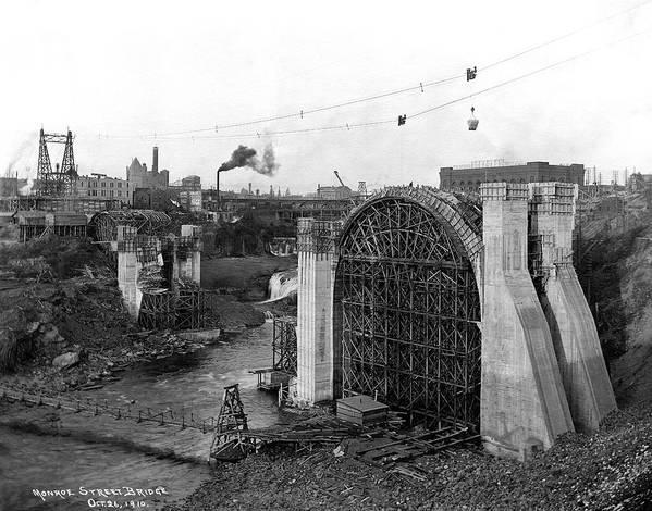 Spokane Art Print featuring the photograph Monroe St Bridge Construction 1910 by Daniel Hagerman
