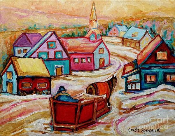 Mont St Hilaire Art Print featuring the painting Mont St.hilaire Going Towards The Village Quebec Winter Landscape Paintings Carole Spandau by Carole Spandau