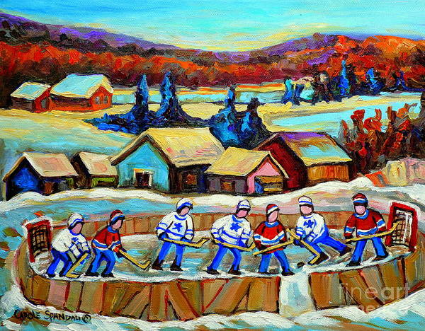 Pond Hockey Art Print featuring the painting Montreal Memories Rink Hockey In The Country Hockey Our National Pastime Carole Spandau Paintings by Carole Spandau