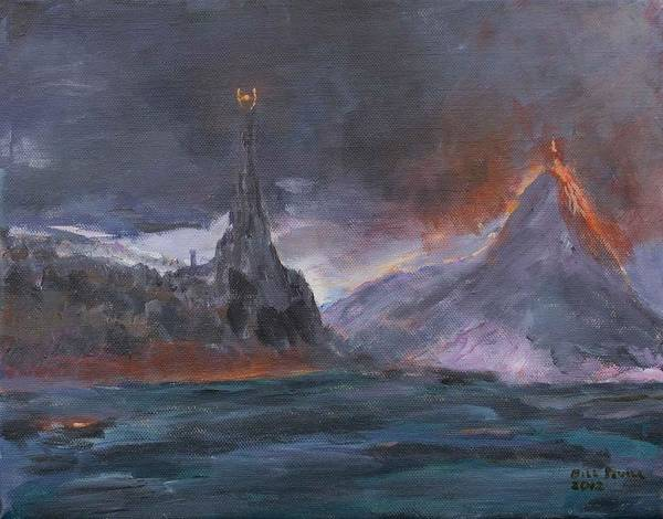 Mordor Art Print featuring the painting Mordor by Bill Revill