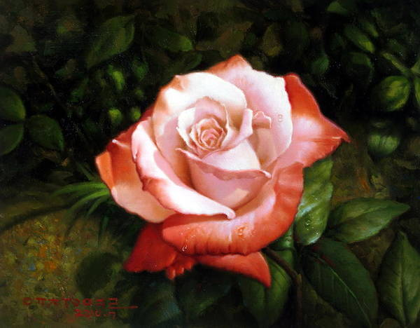 Morning Art Print featuring the painting Morning Dew On The Rose Faded by Yoo Choong Yeul