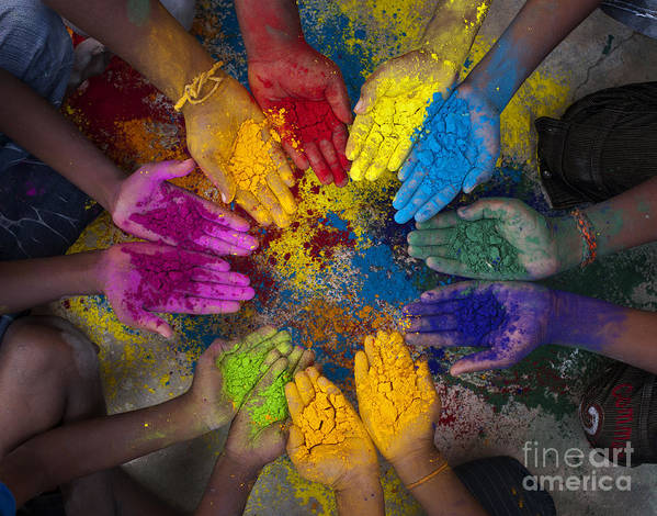 Indian Boys Art Print featuring the photograph Multicoloured Hands by Tim Gainey