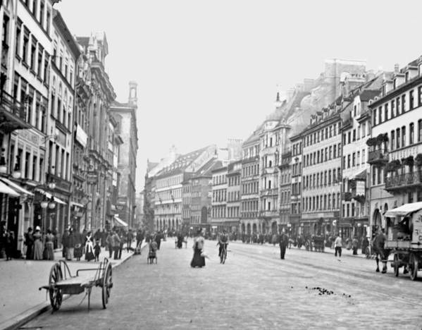 munich germany street scene 1903 vintage photograph art. Black Bedroom Furniture Sets. Home Design Ideas
