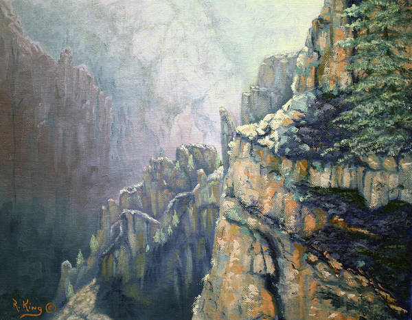 Roena King Art Print featuring the painting Oil Painting - Majestic Canyon by Roena King