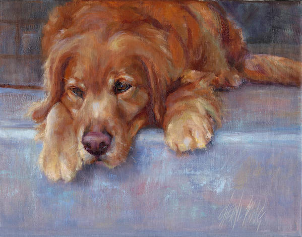 Dog Art Print featuring the painting On The Stoop by Cheryl King