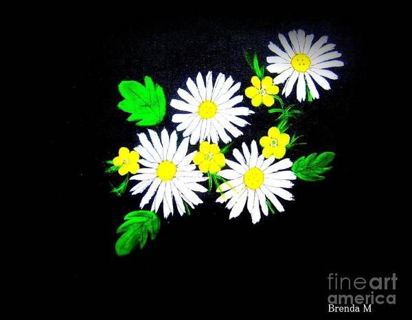 Daisy Print featuring the painting Out Of The Darkness Comes Light by Brenda Mayall