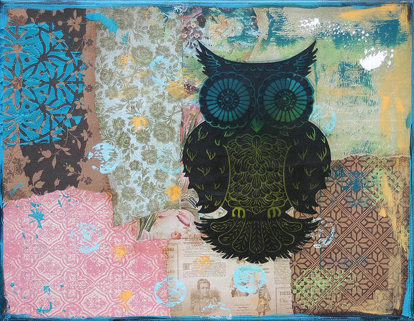 Mixed Media Owl Art Print featuring the mixed media Owl Of Style by Kyle Wood