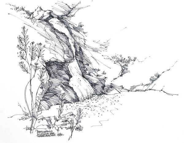 Paradise Falls In Thousand Oaks California Art Print featuring the drawing Paradise Falls Thousand Oaks California by Robert Birkenes