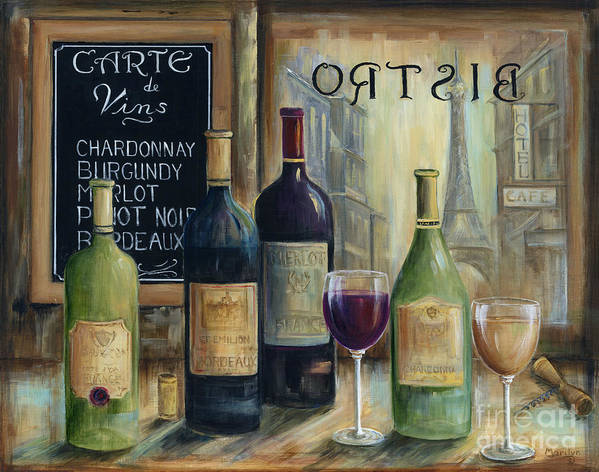 Paris Art Print featuring the painting Paris Wine Tasting by Marilyn Dunlap