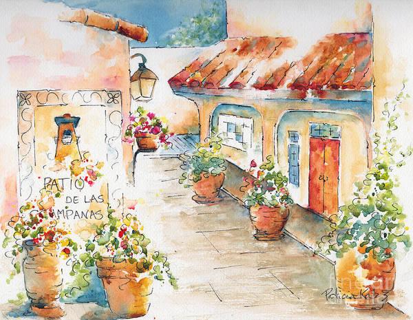Impressionism Art Print featuring the painting Patio De Las Campanas by Pat Katz