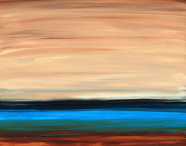 Earth Tone Print featuring the painting Perfect Calm - Abstract Earth Tone Landscape Blue by Sharon Cummings