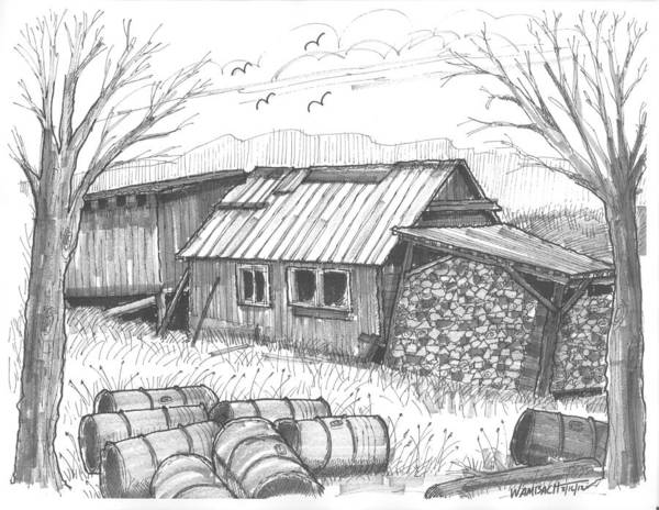 Maple Syrup Art Print featuring the drawing Perkins Maple Sugar House by Richard Wambach