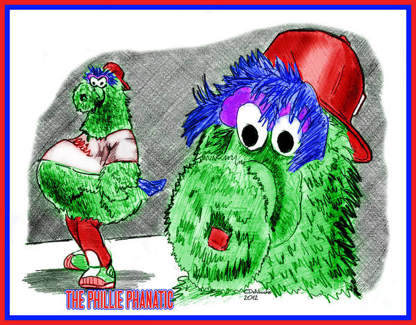 Baseball Print featuring the drawing Phillie Phanatic by Chris DelVecchio