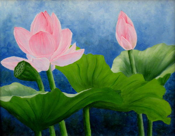 Oil Art Print featuring the painting Pink Lotus On Blue Sky by Darla Brock