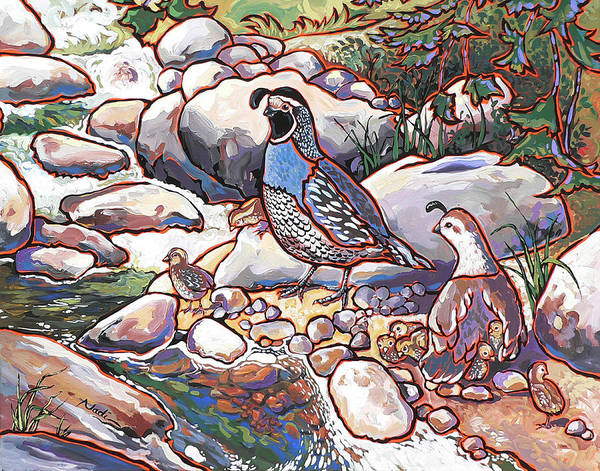 Quail Art Print featuring the painting Quail Family by Nadi Spencer