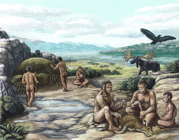 Science Art Print featuring the photograph Quaternary Period, Hominid Settlement by Spencer Sutton