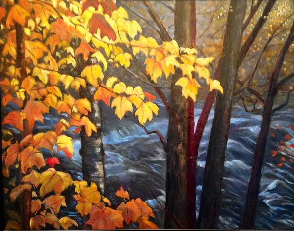 Trees Art Print featuring the painting Rapids by Brenda Loschiavo
