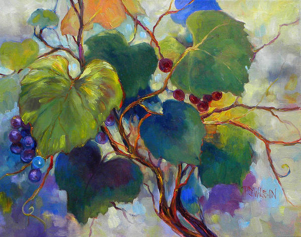 Grapes Art Print featuring the painting Red Grape Vines by Peggy Wilson
