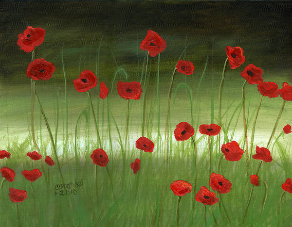 Oil On Canvas Original Art Cecilia Brendel Red Poppies Poppy Field Italy Italian Landscape Floral Flowers Art Print featuring the painting Red Poppies In The Woods by Cecilia Brendel