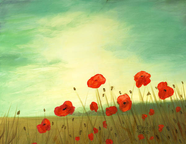 Oil Canvas Poppies Poppy Field Blue Green Sky Cecilia Brendel Red Flowers Prints Art Print featuring the painting Red Poppy Field With Green Sky by Cecilia Brendel