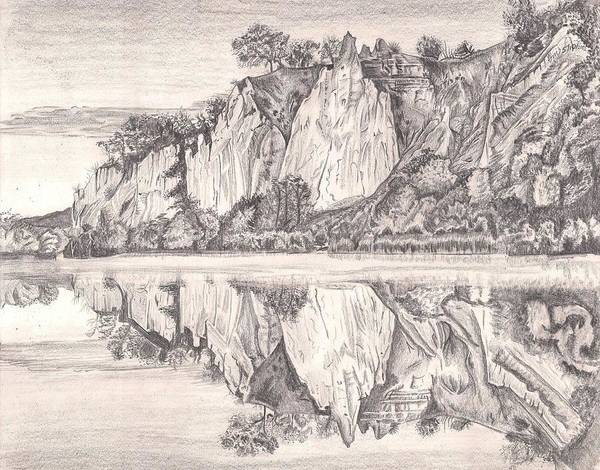 Mountain Cliff Art Print featuring the painting Reflections by Beverly Marshall