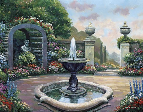 Pallet Art Print featuring the painting Renaissance Garden by John Zaccheo