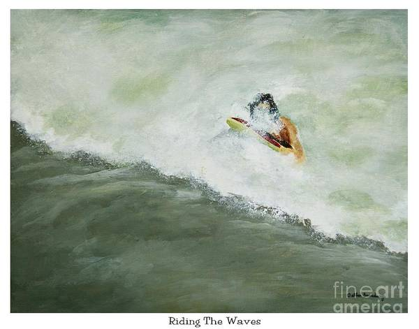 Boogie Board Art Print featuring the painting Riding The Waves by Debbie Broadway