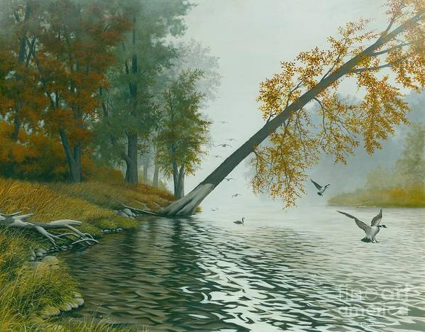 Autumn Landscape Art Print featuring the painting Safe Refuge by Michael Swanson