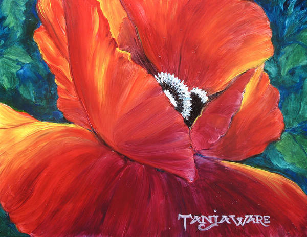 Poppy Art Print featuring the painting Scarlet Poppy by Tanja Ware