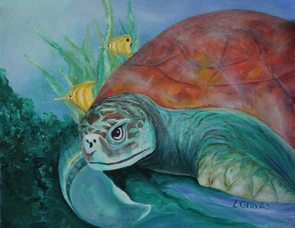 Ocean Fish Art Print featuring the painting Sea Turtle by Lisa Graves