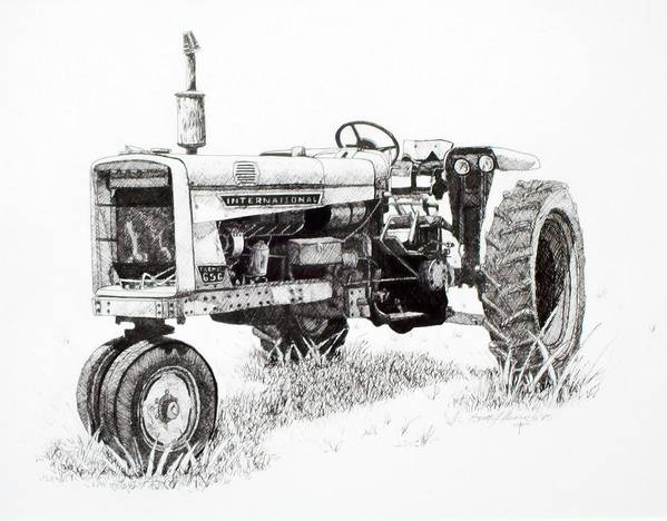 Tractor Art Print featuring the drawing Seen Better Days by Scott Alcorn