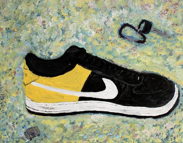 Sneaker Art Print featuring the painting Sneaker And Sportcars by Mark Stiles